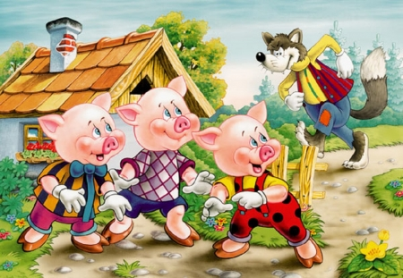 The Three Little Pigs - little, cg, children, three, abstract, illustration, pigs, story, wolf