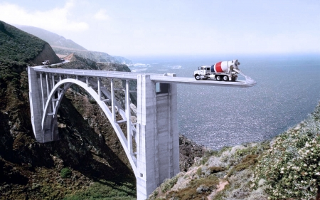 How to Construct a Bridge... - water, Bow, river, truck, funny, sea, landscape