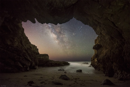 The Milky Way from a Malibu Sea Cave - stars, fun, cool, cave, space