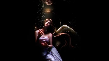 My Paradise - underwater, fantasy, wings, angel, serene, beauty, winged