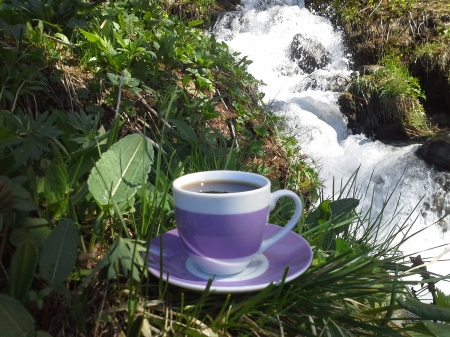 grande caffe naturale near river ... per te...ciao...besh... - sky, sunset, waterfall, rainbow, river, mountain
