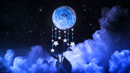 *To the beautiful night...* - stars, hanging stars, rose, sky, clouds, fullmoon, moon, beautiful night, goodnight, blue, night