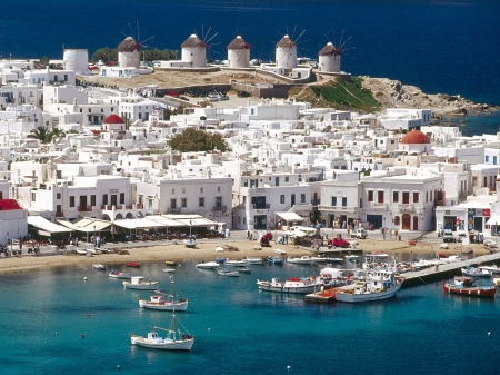 Mykonos, Greece - beautifull, ocean, cityscape, travel, port, country, Mykonos, sea, boats, city, Greece, summer, nature, white