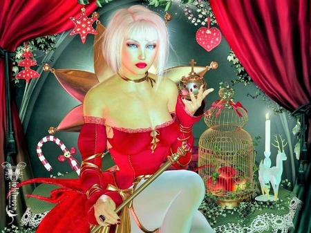A Magical Christmas - red, wings, christmas, tinsel, beautiful, magic, digital art, fantasy, cage, pink hair, gifts, gorgeous
