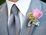 Pink rose wedding boutonniere