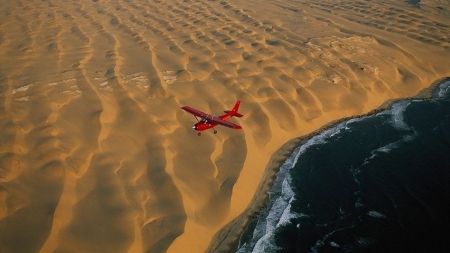 Namibia-desert meets the sea - amazing, plane, desert, sea