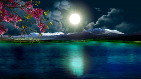 Beautiful Night Lakes Nature Background Wallpapers On