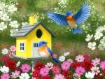 Bluebirds & Yellow Birdhouse