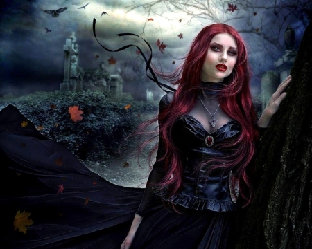 Redhead goth love with woman-9416