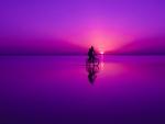 Biking on purple beach