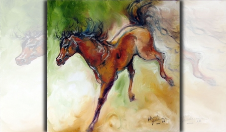 Bronco - Horse  - art, equine, bronco, horse, artwork, animal, Marcia Baldwin, Baldwin, painting