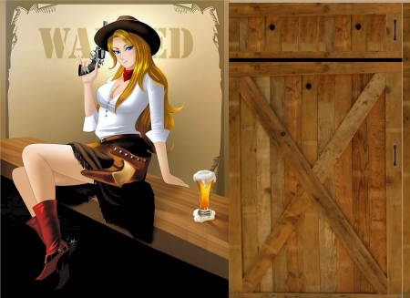Wanted Cowgirl - art, female, models, hats, boots, fun, women, guns, cowgirls, drawing, girls, blondes, western, style