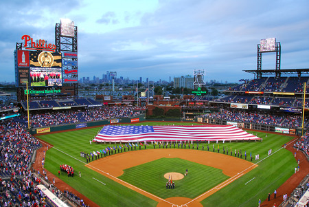 Citizens Bank Park Phillies With American Flag