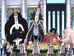 Five of the Shichibukai in a meeting