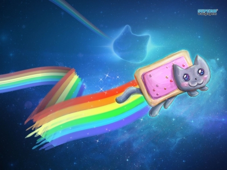 nyan cat very cute - galaxies, rainbow, cat, poptart, space
