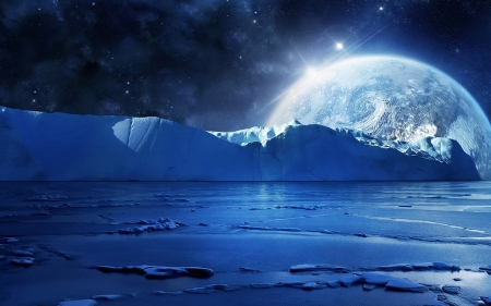 Blue Moon - planets, colorful, space, beautiful, sea, artisitic, moon, multicolor, other, blue, stars, art, amazing, colors, black, sky, glacial, lake, cool, icy, ice, awesome, white, frozen