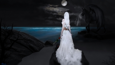 *Confrontation* - dress, woman, sea, hair, fantasy, moon, darkness, seaside, fantasy art, blue, wings, black, horse, girl, fantasy nights, dark, moonlight, devil, white