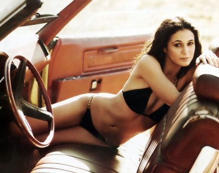 Canadian Beauty - car seat, black bikini, Brunette, steering wheel