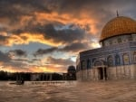 dome of the rock at sunset hdr