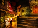 night at side street in medieval village hdr