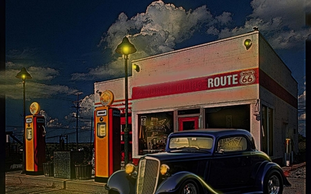 Route 66 Service Station - hot rod, street rod, route 66, car