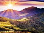 The rays of the sun and mountains