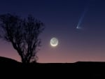 Comet PanSTARRS and a Crescent Moon