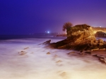 back llit seashore at night hdr