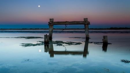 moon over broken seashore pier - pier, night, sea, moon, shore, broken