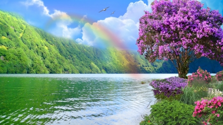 ~*~ Rainbow ~*~ - HD wallpaper, flowers, nature, river, rainbow, landscape