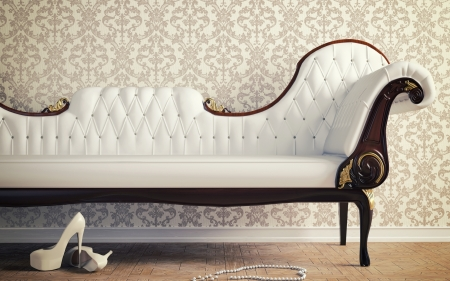 White sofa - stiletto, necklace, shoe, pearls, room, beads, white, vintage furniture, sofa