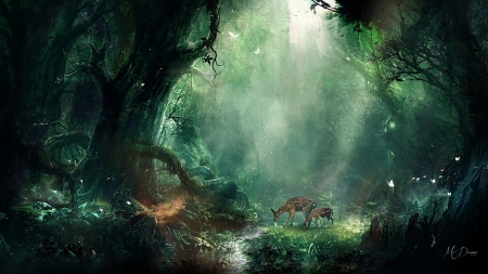 Stop at the Stream - mystical, forest, stream, woods, creek, fairytale, deer, fantasy, green, Firefox Persona theme