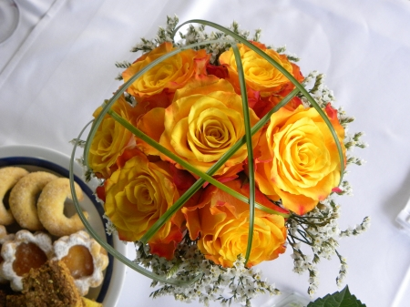 wedding bouquet - bouquet, orange, flower, yellow, beautiful, roses, wedding, sweet