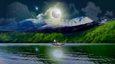 Romantic Night Rivers Nature Background Wallpapers On