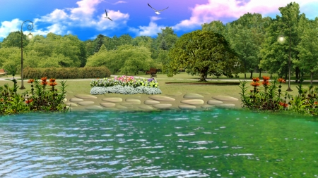 ~*~ Lake Garden ~*~ - HD wallpaper, flowers, garden, nature, parke, trees, lake, landscape