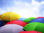 Rainbow colors umbrellas