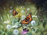 Butterflies on Dandelions
