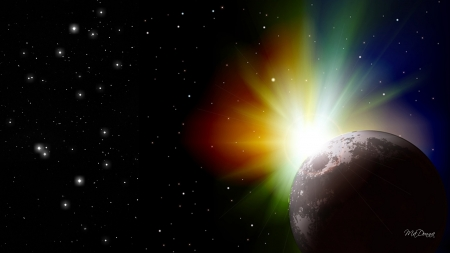 Color Burst in Space - collision, sun, colorful, lights, planet, space