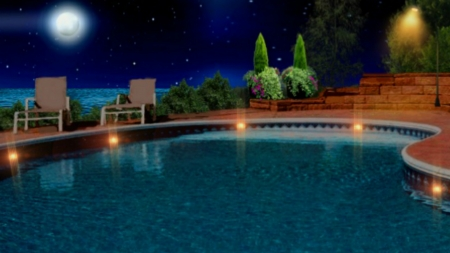 ~*~ Night At The Paradise ~*~ - full moon, swimming pool, ocean, HD wallpaper, nature, night, landscape