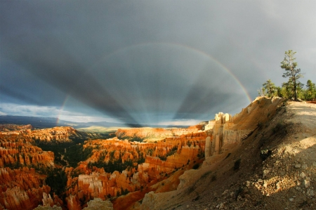 Rainbows and Rays over Bryce Canyon - cool, desert, nature, rainbow, fun