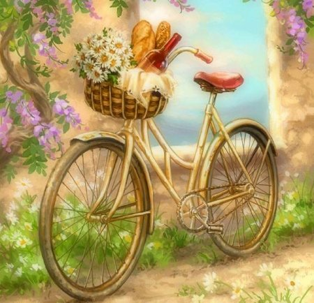 bicycles with flowers wallpaper - photo #11