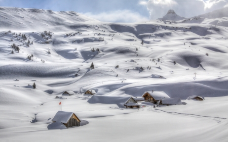wonderful white valley - cabin, snow, valley, winter