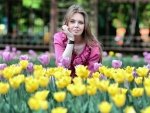 Model in a Field of Tulips
