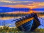 rowboat at sunset hdr