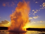 beautiful geyser at yellowstone park