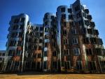 dancing building in dusseldorf germany hdr
