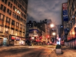 broadway in manhattan late at night hdr