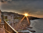 gorgeous sunset over a seaside town hdr