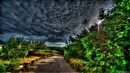 wondrous cobblestone country road hdr - cobblestone, sun rays, hdr, road, trees, clouds