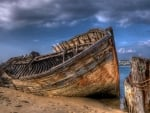 ship wreck on a sand bar hdr
